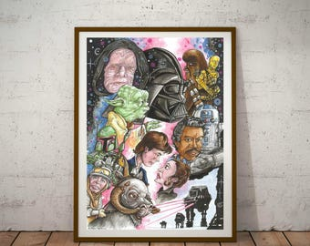 Star Wars, The Empire Strikes Back, Eco Friendly, A3 Cult Caricature Poster/Print