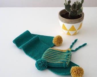 Hand Knit Merino Wool Baby Bonnet and Scarf Set - Newborn Bonnet - Baby Hat - Pixie Hat - Baby Wool Scarf - Green Yellow Striped Hat