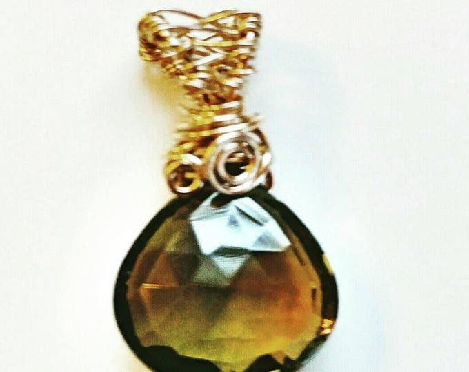 Green quartz pendant, gold Vermeil pendant, Large olive green quartz, heart pendant,  yellow gold scrolled bail pendant.