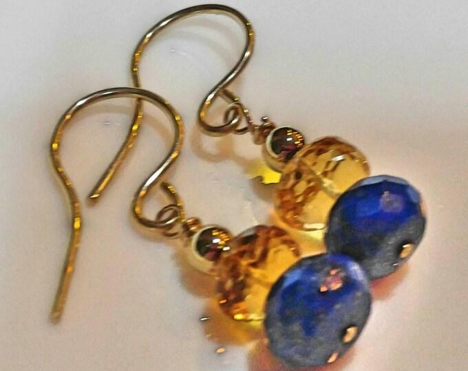 Citrine earrings, gold lapis lazuli drop earrings. Gold Vermeil dangle earrings. Navy and yellow earrings. Hand wrapped earrings.