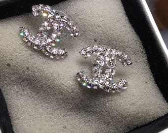 Gorgeous chanel Inspired shiny cc stud earrings