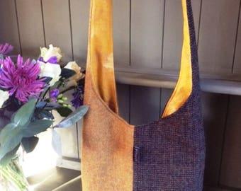 Harris & Shetland Tweed Hobo Bag - Rust / Brown