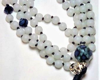 Snow Quartz Hand Knotted, 108 bead Mala