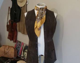 1970s bohemian suede waistcoat