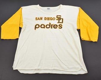 Vintage 70s San Diego Padres Victory Knits 3/4 Sleeve Baseball t-shirt mens XL 50/50 Made in the USA MLB Baseball