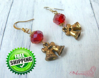 Red Gold Christmas Bell earrings Crystal Magic Sparkle Glitter jewelry Christmas Holiday gift idea Charm earrings Red Gold jewelry
