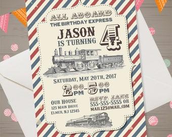 Train Birthday Invitation Vintage Train Invitation Train Party Invite Retro Train Invite All Aboard Invitation Train 1st 2nd 3rd Birthday