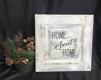 Engraved Home Sweet Home wooden sign.  Can personalized.  Painted, sanded, and engraved with black lettering.
