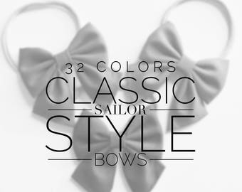 Sailor Bow 32 Solid Colors | hair bows, first birthday bow, baby shower girl gift, toddler bow, nylon bows, baby hair bows, hair clips