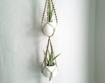 Double Plant Hanger - Macrame Plant Hanger - Beige Hanging Planter