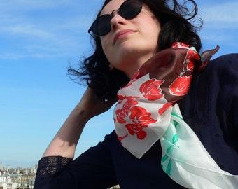 Silk scarf, écharpe en soie, peint à la main, hand painted, silk square, perrot, foulard, Gift for her, batik, chic, silk shawl, silk wrap