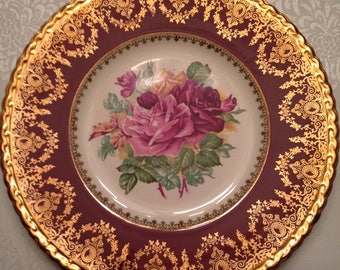 HANDCRAFT by T G Green & Co Burgundy Gold Filigree Serving plate