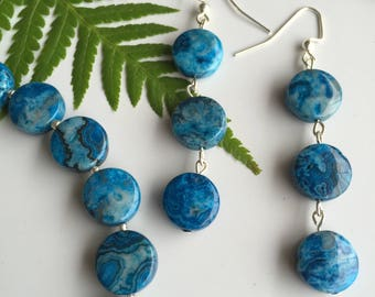 Blue Crazy Lace Agate and Silver Seed Bead Bracelet and Earring Set Handmade jewelry set