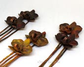 Set of 2 pieces Orchid Hairpins | Copper Orchid flower hairpins | REAL Orchid hairpin | Copper hair fork, hair comb. Copper hair accessories