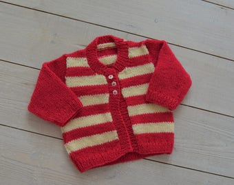 Pink and Cream Baby Cardigan