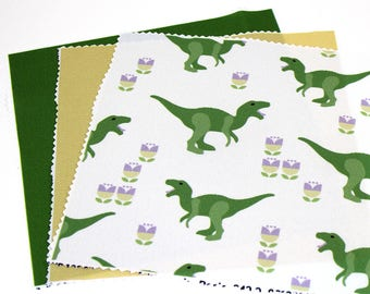 "8""x8"" Fabric Pieces, Qty: 3, 100% Polyester, Sewing Fabric, Craft Fabric, 8x8 in Sq Fabric, Green Solid, Yellow Solid, Dinosaur (CS116)"