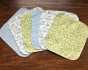 Baby Wipes,Cloth Wipes, Baby Washcloths, 6-Pack Washcloths, Boy Washcloths, Flannel Wipes, Baby, Baby Shower Gift, Baby Branch Boutique