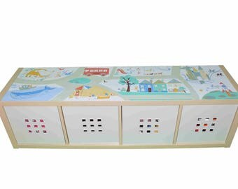 Play mat furniture print - Imagination adventure  - Children's Ikea hack for kallax  storage play table - Furniture not included.