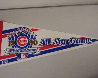 Vintage MLB Chicago Cubs All Star Game Pennant Banner/ Flag