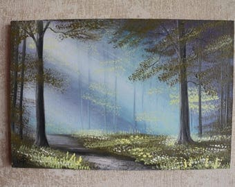 "Painting ""In the forest at dawn"", painting on canvas, with the author's signature, 7.87х11.81 inches (20х30 cm)"