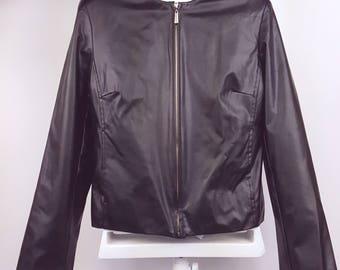 Vintage New Wave Black Vegan Leather Cropped Jacket Minimalist Punk Rock
