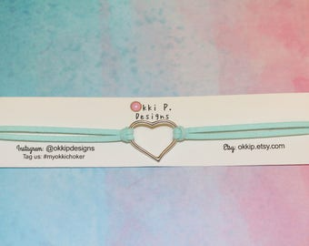 Teal Heart Choker