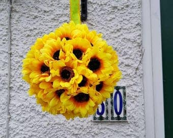 Sunflower ball, hanging sunflowers, Sunflower decor, spring decor, yellow sunflower, topiary sunflower, kissing ball