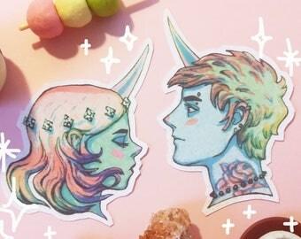 Glitter unicorn sticker set, uniboy, unigirl, blue, seafoam, magic couple, pastel goth, vintage manga, shimmer, art, creamy pop, portrait