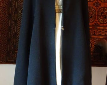 Vintage Black Opera Cloak in Wool and Cashmere, Tailored by Connock & Lockie