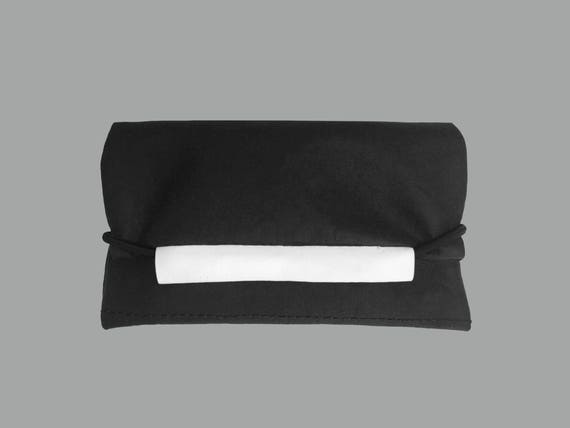 Purse from Jacron black with rubber cord minimalist design Black evening bag