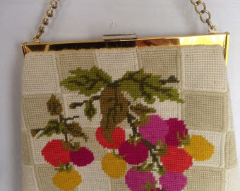 Grape Motif Tapestry Handbag