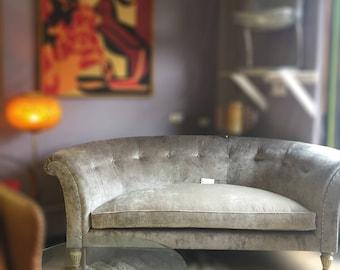 Henredon Curved Sofa in Gray Velvet