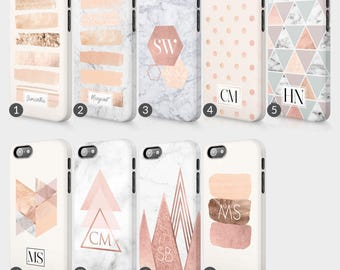 Personalised Rose Gold Marble Printed Glitter Initials Custom Phone Case For Iphone & Samsung 3D Full Wrap Hard Cover Gift