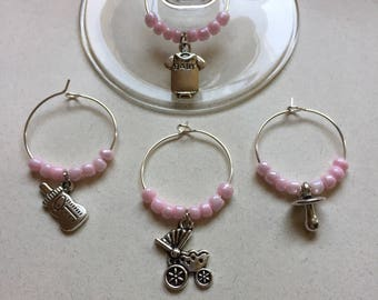 Baby Girl Wine Charms