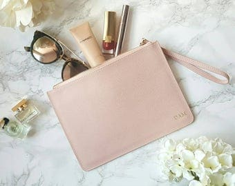 New Personalised Pink Blush Saffiano Leather Clutch Bag Pouch