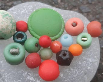 mixed pack of sea glass beads and green sea glass button.genuine surf tumbled beach finds.