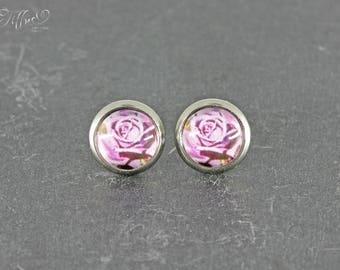 Earrings stainless steel * cabochon rose 8 mm * stainless steel * stud * earring