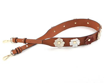 Strap You brown Leather flowers Bag Strap Genuine leather Removable Purse Strap Interchangeable Strap Replacement Handle Chain adjustable