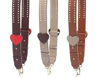 Real leather Bag Strap love heart strap  leather strap  Removable Strap for Bag and Purses Interchangeable Strap adjustable strap