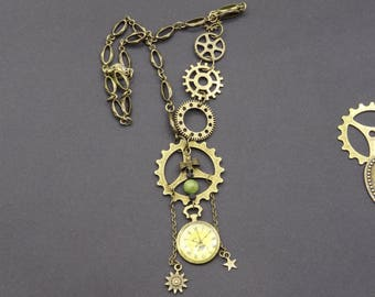Steampunk watch jade Sun and star lava stone necklace