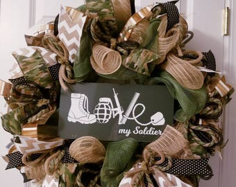 Military wreath, Soldier wreath, Army wreath, Military wife gift, Military wreath army, Camouflage wreath, Military family gift, Home decor