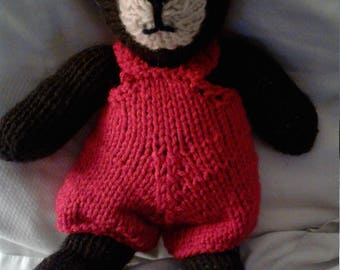 Handmade knitted toy bear