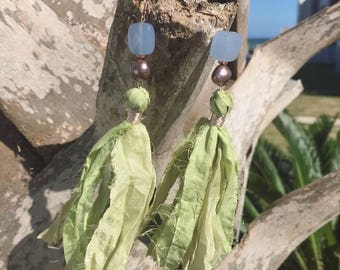 Soft green sari silk tassel earrings