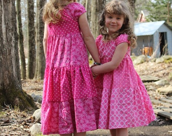 Pretty in Pink Polkadot and Floral Peasant Dress size 4