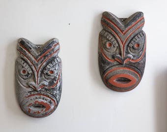 PAIR of 1950's Vintage Aluminum Tiki Masks