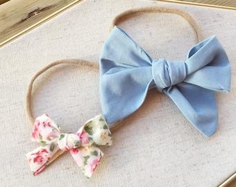Chambray Blue, Floral schoolgirl bow • Hair bow, sailor bows, nylon headband, baby bows on nylon band