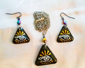 The Eye Witches Rune Necklace and Earring Set