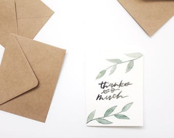 THANK YOU CARD, greeting card, hand lettered card.