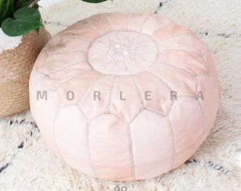 Authentic Moroccan Leather Pouf,Handcrafted Leather Pouffe ottoman ,Footstool, light pink