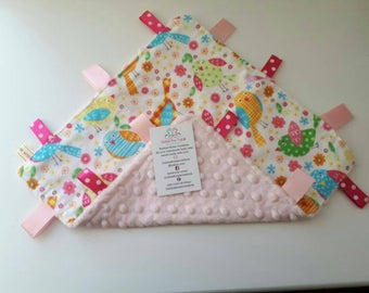 Baby pink with birds tagged blanket, baby girl, baby comforter, new baby gift, baby keepsake, pink, birds